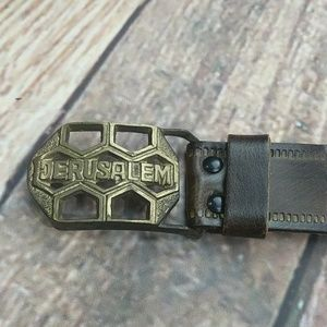 Accessories - Hand Tooled Vintage Belt with Jerusalem Buckle
